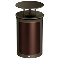 Rubbermaid 1970254 Enhance 23 Gallon Dark Cherry Trash Can with Rainhood and Bronze Frame
