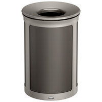 Rubbermaid 1970166 Enhance 23 Gallon Umbra Gray Round Trash Can with Pearl Mouse Gray Frame