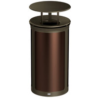 Rubbermaid 1970288 Enhance 33 Gallon Dark Cherry Round Trash Can with Rainhood and Bronze Frame