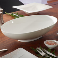 Villeroy & Boch 10-4510-3287 Modern Grace 101.5 oz. White Bone Porcelain Oval Bowl - 6/Pack