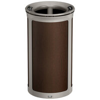 Rubbermaid 1970196 Enhance 33 Gallon Mocha Round Trash Can with Two Stream Lid and Pearl Mouse Gray Frame
