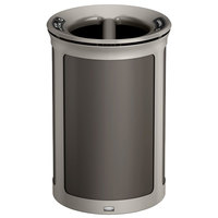 Rubbermaid 1970168 Enhance 23 Gallon Umbra Gray Round Trash Can with Two Stream Lid and Pearl Mouse Gray Frame