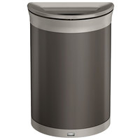 Rubbermaid 1970090 Enhance 11.5 Gallon Umbra Gray Half Round Trash Can with Pearl Mouse Gray Frame