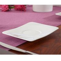 Villeroy & Boch 10-4510-1310 Modern Grace 6 1/2 inch x 5 1/2 inch White Bone Porcelain Saucer - 6/Case