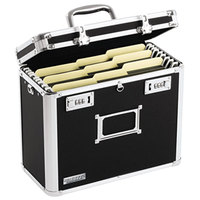 Vaultz VZ01187 Black Letter Sized Locking File Chest - 13 3/4 inch x 7 1/4 inch x 12 1/4 inch