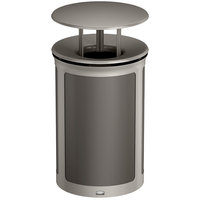 Rubbermaid 1970242 Enhance 23 Gallon Umbra Gray Trash Can with Rainhood and Pearl Mouse Gray Frame