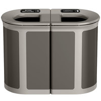 Rubbermaid 1970200 Enhance 46 Gallon Umbra Gray Pill Trash Can with Two Stream Lid and Pearl Mouse Gray Frame