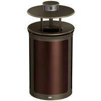 Rubbermaid 1970255 Enhance 23 Gallon Dark Cherry Trash Can with Rainhood, Ash Pod, and Bronze Frame