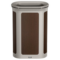 Rubbermaid 1970126 Enhance 13 Gallon Mocha Pill Trash Can with Pearl Mouse Gray Frame