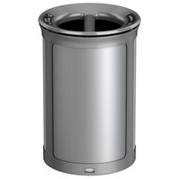 Rubbermaid 1970171 Enhance 23 Gallon Brushed Stainless Round Trash Can with Two Stream Lid and Stardust Silver Frame