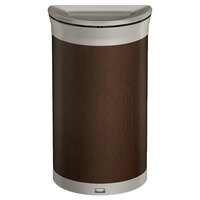 Rubbermaid 1970082 Enhance 7.5 Gallon Mocha Half Round Trash Can with Pearl Mouse Gray Frame