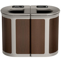 Rubbermaid 1970204 Enhance 46 Gallon Mocha Pill Trash Can with Two Stream Lid and Pearl Mouse Gray Frame