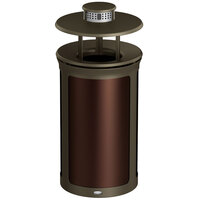 Rubbermaid 1970221 Enhance 15 Gallon Dark Cherry Trash Can with Rainhood, Ash Pod, and Bronze Frame