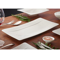 Villeroy & Boch 10-4510-2580 Modern Grace 17 1/2 inch x 9 inch White Bone Porcelain Rectangular Plate - 6/Pack