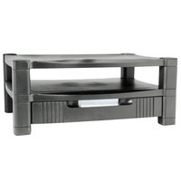 Kantek MS480 Black 17 inch x 13 1/4 inch x 7 inch Two Tier Adjustable Monitor Stand with Storage Drawer