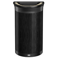 Rubbermaid 1970088 Enhance 7.5 Gallon Ebony Half Round Trash Can with Ash Tray and Jet Black Frame