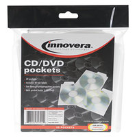 Innovera 39701 5 inch x 4 15/16 inch Clear CD / DVD Pocket - 25/Pack