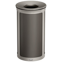 Rubbermaid 1970178 Enhance 33 Gallon Umbra Gray Round Trash Can with Pearl Mouse Gray Frame