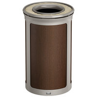 Rubbermaid 1970160 Enhance 15 Gallon Mocha Round Trash Can with Ash Tray and Pearl Mouse Gray Frame