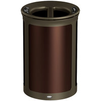 Rubbermaid 1970256 Enhance 23 Gallon Dark Cherry Trash Can with Two Stream Lid and Bronze Frame