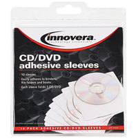 Innovera 39402 5 3/8 inch x 5 3/8 inch White Self-Adhesive CD / DVD Sleeve - 10/Pack