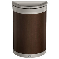 Rubbermaid 1970116 Enhance 11.5 Gallon Mocha Half Round Trash Can with Pearl Mouse Gray Frame