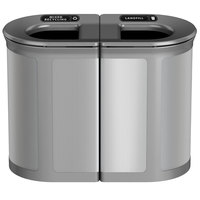 Rubbermaid 1970202 Enhance 46 Gallon Brushed Stainless Pill Trash Can with Two Stream Lid and Stardust Silver Frame