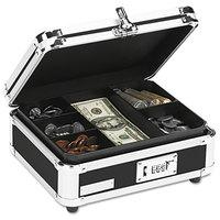 Vaultz VZ01002 10 inch x 8 3/4 inch x 5 inch Black Plastic / Steel Cash Box with Tumbler Lock