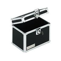 Vaultz VZ01171 7 inch x 5 inch x 5 inch Black Locking Index Card File Box with Flip Top