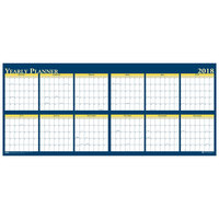 House of Doolittle 3974 60 inch x 26 inch Recycled Blue / Yellow Yearly January 2019 - December 2019 Reversible Wall Calendar