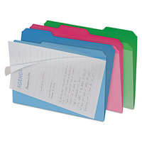 find It FT07187 Letter Size File Folder - Interior Height with 1/3 Cut Assorted Tab and Clear Cover, Assorted Color - 6/Pack