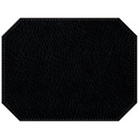 H. Risch Inc. Chesterfield 12 inch x 16 inch Black Premium Sewn Octagon Placemat