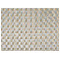 H. Risch, Inc. GA-2004 16 inch x 12 inch Metallic Taupe / Silver Woven Vinyl Rectangle Placemat - 12/Pack