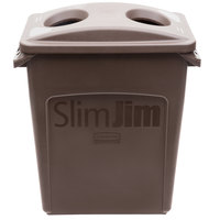 Rubbermaid Slim Jim 16 Gallon Brown Trash Can with 2 Hole Lid