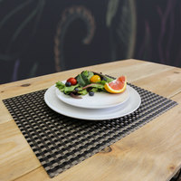 H. Risch, Inc. GA-2000 16 inch x 12 inch Black / Pewter Woven Vinyl Rectangle Placemat - 12/Pack