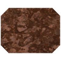 H. Risch Inc. Brushed Metallic 12 inch x 16 inch Bronze Premium Sewn Octagon Placemat