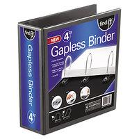 find It FT07074 Black View Binder with 4 inch Gapless Loop Rings