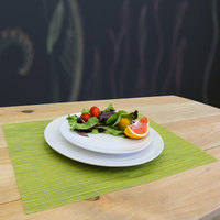 H. Risch, Inc. GA-7003 16 inch x 12 inch Lime Green Woven Vinyl Rectangle Placemat - 12/Pack