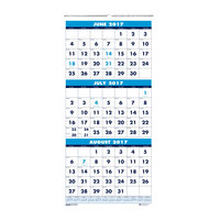 House of Doolittle 3645 8 inch x 17 inch Recycled Blue / White Monthly June 2018 - July 2019 Academic Wall Calendar