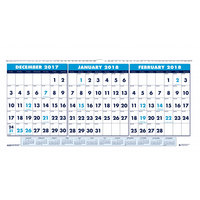 House of Doolittle 3647 17 inch x 8 inch Recycled Blue / White Monthly December 2018 - January 2020 Horizontal Wall Calendar