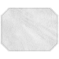 H. Risch, Inc. PLACEMATDXOCT-HARWHITE Harley 16 inch x 12 inch Customizable White Premium Sewn Faux Leather Octagon Placemat