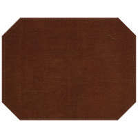 H. Risch, Inc. PLACEMATDXOCT-LTHBROWN Tuxedo Leather 16 inch x 12 inch Customizable Brown Premium Sewn Octagon Placemat