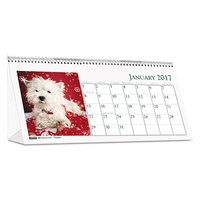 House of Doolittle 3659 8 1/2 inch x 4 1/2 inch Recycled Puppy Photos Monthly January 2019 - December 2019 Desk Tent Calendar