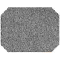 H. Risch Inc. Hampton 12 inch x 16 inch Silver Premium Sewn Octagon Placemat