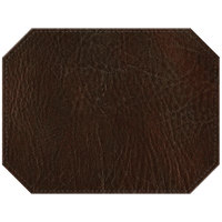 H. Risch, Inc. PLACEMATDXOCT-HARBROWN Harley 16 inch x 12 inch Customizable Brown Premium Sewn Faux Leather Octagon Placemat