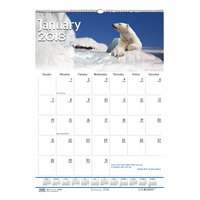 House of Doolittle 3732 12 inch x 16 1/2 inch Recycled Wildlife Scenes Monthly January 2019 - December 2019 Wall Calendar