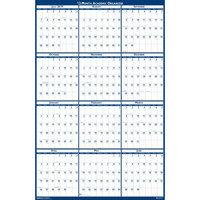 House of Doolittle 395 24 inch x 37 inch Recycled Blue / Gray Yearly July 2019 - June 2020 Reversible Academic Wall Calendar