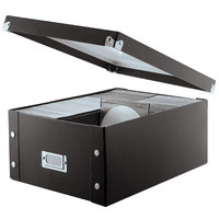 Snap-N-Store SNS01658 10 1/2 inch x 14 inch x 5 3/4 inch Black Media Storage Box with Lid