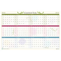 House of Doolittle 3984 24 inch x 37 inch Recycled Floral Yearly January 2019 - December 2019 Reversible/Erasable Wall Calendar