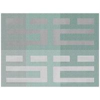 H. Risch, Inc. 12 inch x 16 inch Multi Aqua / Silver Vinyl Rectangle Placemat - 12/Pack